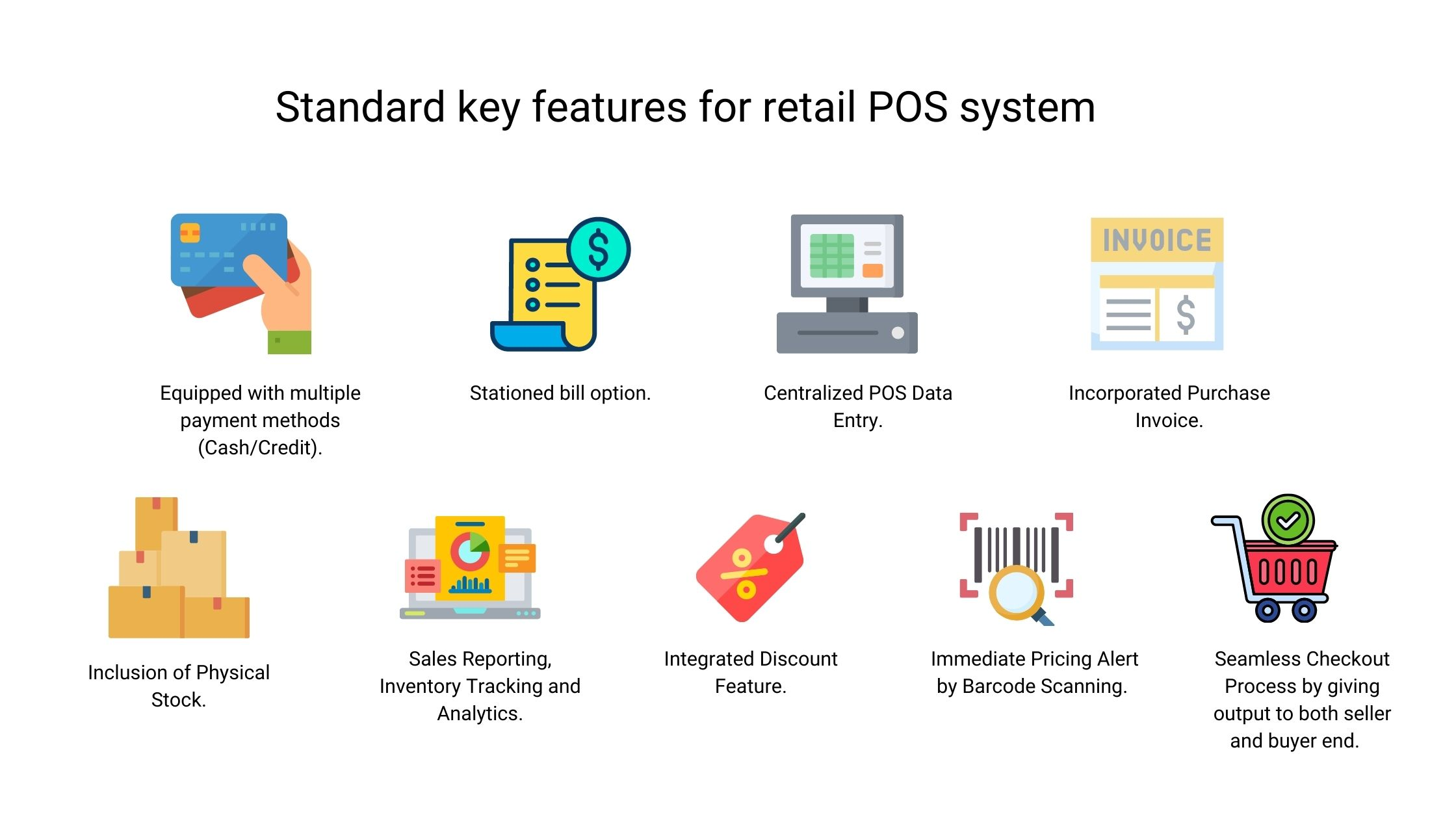 Standard key features for retail POS system